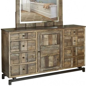 Rustic Solid Wood 8 Drawer and 1 Door Dresser with Microfiber Lined Top Drawers