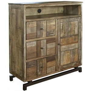 Rustic Solid Wood 3 Drawer and 1 Door Media Chest
