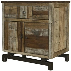 Rustic Solid Wood 1 Drawer and 2 Door Nightstand