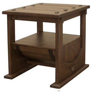 Solid Pine Barrel End Table