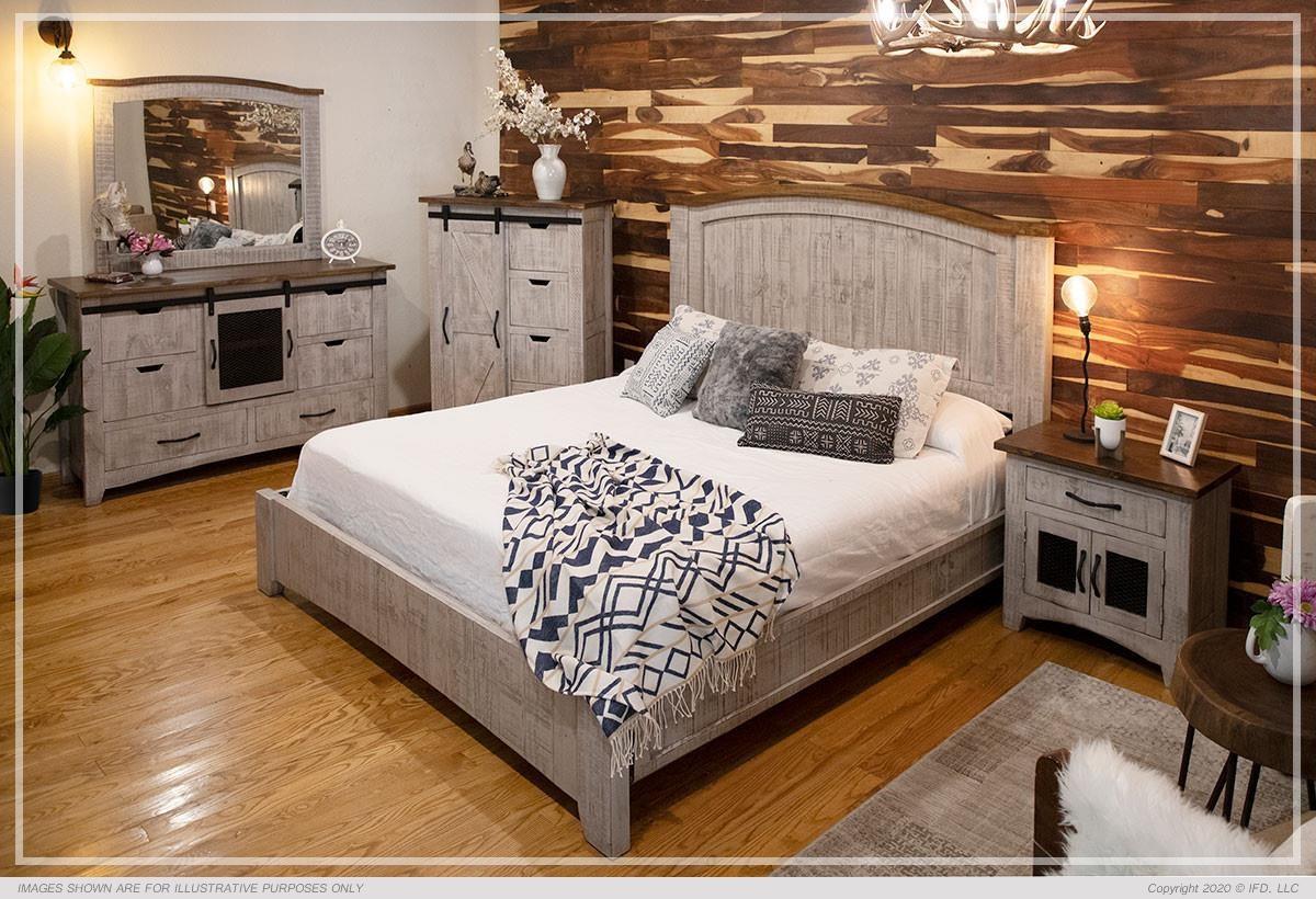 Pueblo Queen Panel Bed, Dresser, Mirror, Nightstand by International Furniture Direct at Johnny Janosik