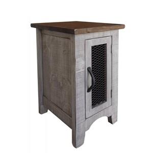 Rustic Chairside Table with 1 Door
