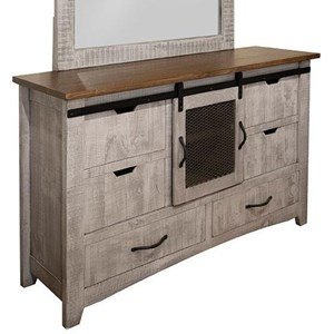 Rustic Dresser with 6 Drawers and 1 Door