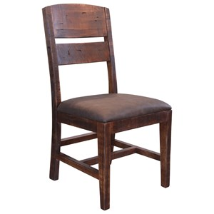 Chair with Solid Wood Back and Faux Leather Seat