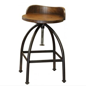 Adjustable Height Swivel Bar Stool with Iron Base
