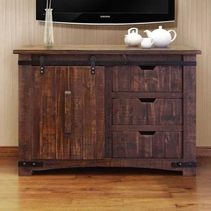 "50"" TV Stand with Sliding Wood Doors"