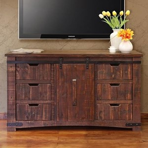 "60"" TV Stand with Sliding Wood Doors"