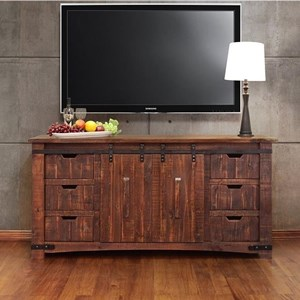 "70"" TV Stand with Sliding Wood Doors"