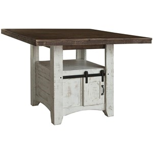 Rustic Solid Wood Counter Height Table with 2 Doors