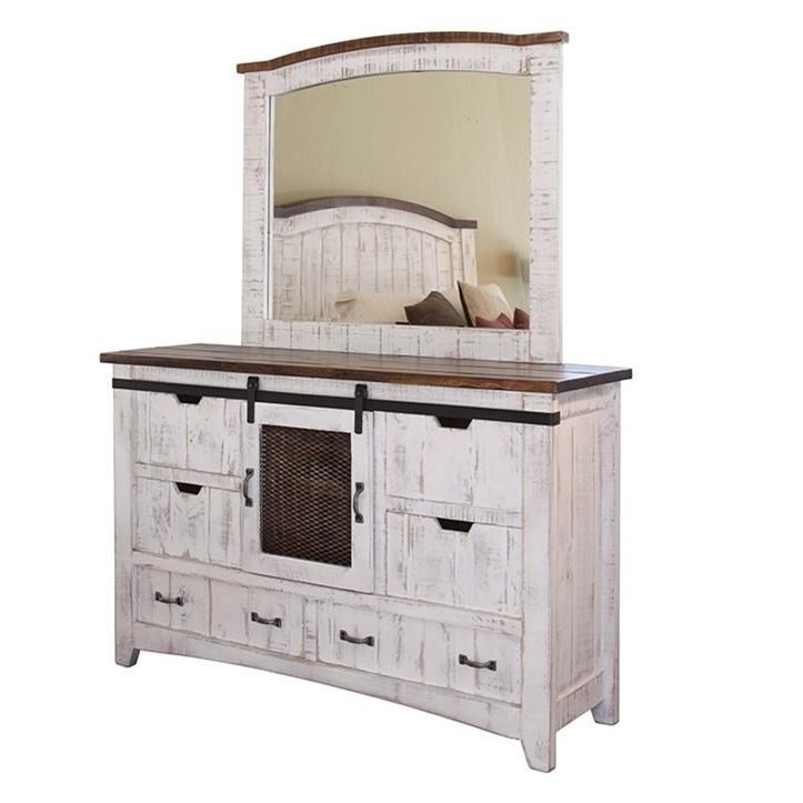 Pueblo Dresser and Mirror Set by International Furniture Direct at Furniture Superstore - Rochester, MN