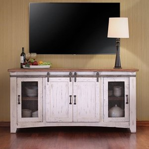 "70"" TV Stand with Mesh Panel Doors"