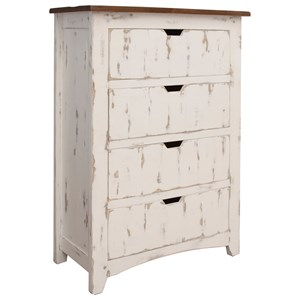 Rustic Solid Wood 4 Drawers chest