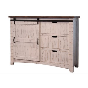 Rustic Chest with 3 Drawers and 1 Sliding Door