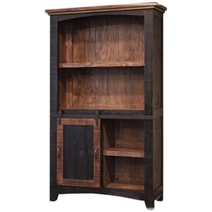 "70"" Bookcase with Three Drawers and a Sliding Door"