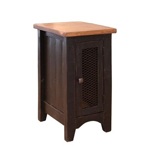 Rustic Chairside Table with Mesh Panel Door