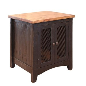 Rustic End Table with Mesh Doors