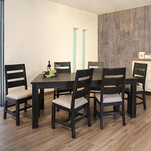 Rustic Table and Six Chair Dining Set