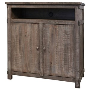 Rustic Solid Wood 2 Door Media Chest