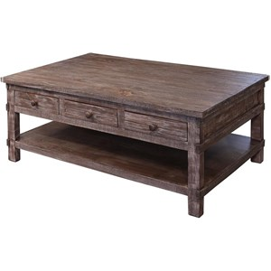 Rustic Solid Wood 6 Drawer Cocktail Table