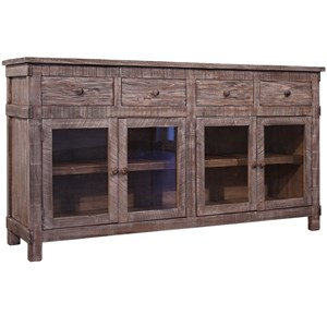 Rustic Console with 4 Drawers and 4 Glass Doors