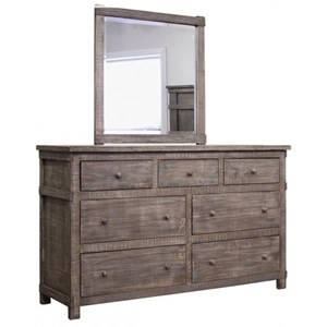 Rustic Solid Wood 7 Drawer Dresser with Mirror