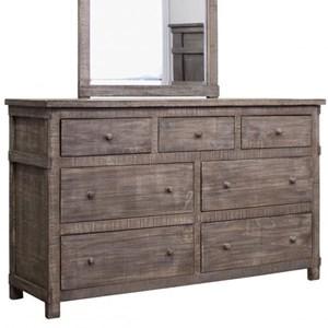 Rustic Solid Wood 7 Drawer Dresser