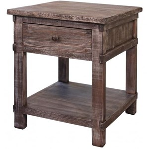 Rustic Solid Wood 1 Drawer End Table