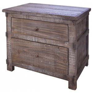 Rustic Solid Wood 2 Drawer Nighstand