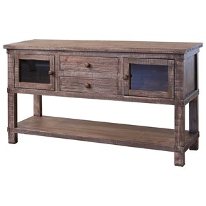 Rustic Solid Wood 2 Drawer and 2 Door Sofa Table