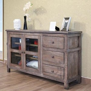 "Rustic 60"" Solid Wood 3-Drawer and 2-Door TV Stand"