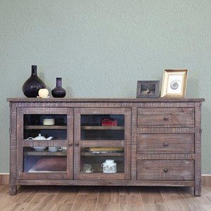 "Rustic 70"" Solid Wood 3-Drawer and 2-Door TV Stand"