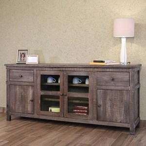 "Rustic 60"" Solid Wood  2-Drawer and 4-Door TV Stand"