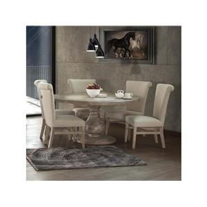 5 Piece Round Table and 4 Upholstered Side Chairs Set