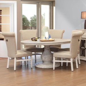 6 Piece Round Table and Upholstered Chair Set