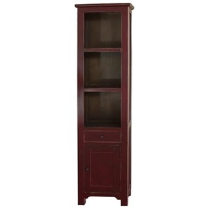 Solid Pine Open Bookcase with 1 Drawer and 1 Door