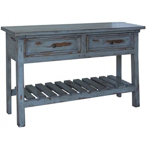Rustic 2 Drawer Solid Wood Sofa Table