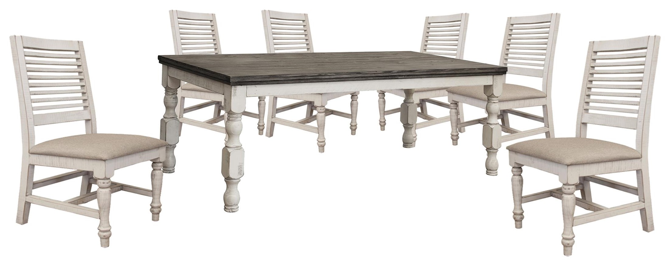Stone Dining Table and 6 Ladderback Chair by International Furniture Direct at Johnny Janosik