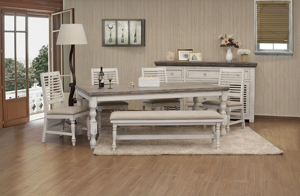Stone Table And Chair Set With Bench by International Furniture Direct at Johnny Janosik