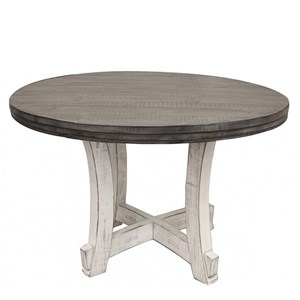 Relaxed Vintage Two-Toned Solid Wood Round Table