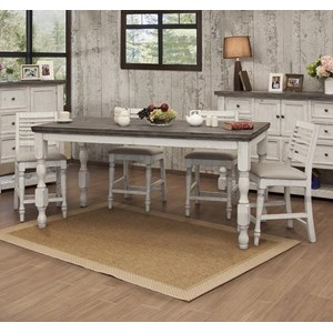 Solid Wood 5-Piece Counter Height Table and Chair Set