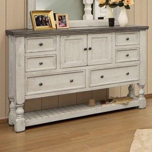 Relaxed Vintage Dresser with Slatted Shelf