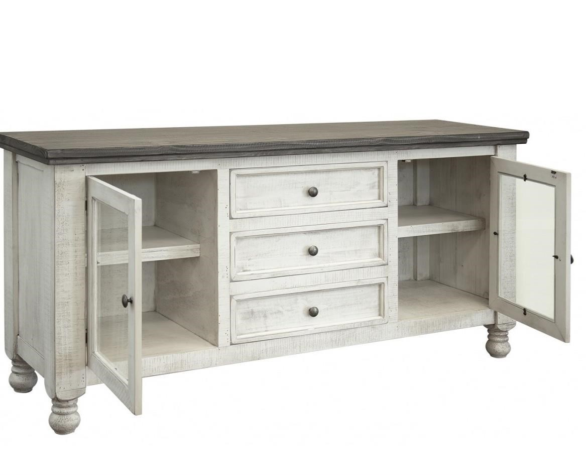 Stone Buffet with 2 Glass Doors and 3 Drawers by International Furniture Direct at Furniture Superstore - Rochester, MN