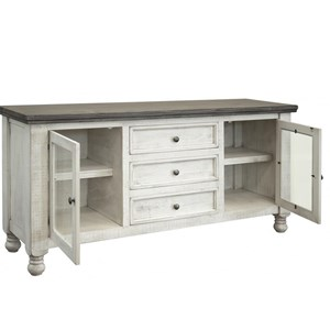 Relaxed Vintage Buffet with 2 Glass Doors and 3 Drawers