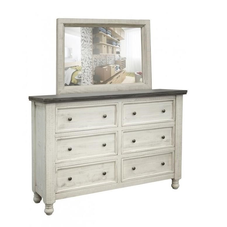 Stone Dresser and Mirror Set by IF at Lindy's Furniture Company