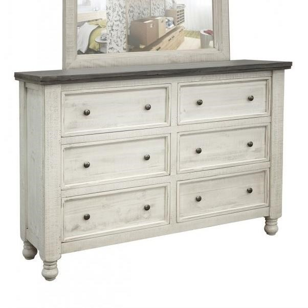 Stone 6 Drawer Dresser by International Furniture Direct at Pedigo Furniture