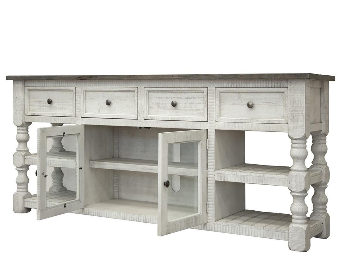 "Stone 80"" TV Stand by International Furniture Direct at VanDrie Home Furnishings"