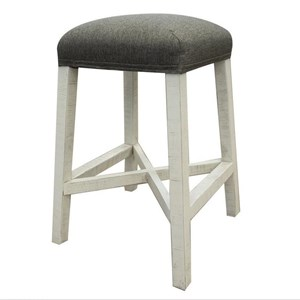 "Relaxed Vintage 24"" Stool with Fabric Seat"