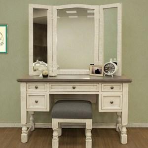 Vanity, Mirror, and Stool Set