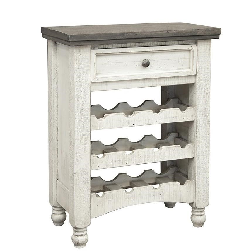 Stone 12 Bottle Wine Rack with 1 Drawer by International Furniture Direct at VanDrie Home Furnishings