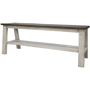 Relaxed Vintage Solid Wood Counter Height Bench with Shelf
